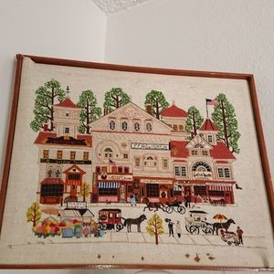 "Vintage needlepoint finished 17x20"" Town shops"